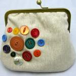 Linen Fabby Purse - Button..