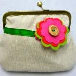 Linen Fabby Purse - Flower ..