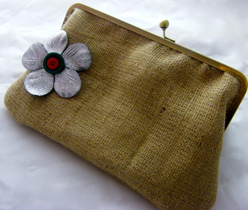 "10"" Fancy Jute Clutch - Silver Flower with Buttons ( Green & Red)"