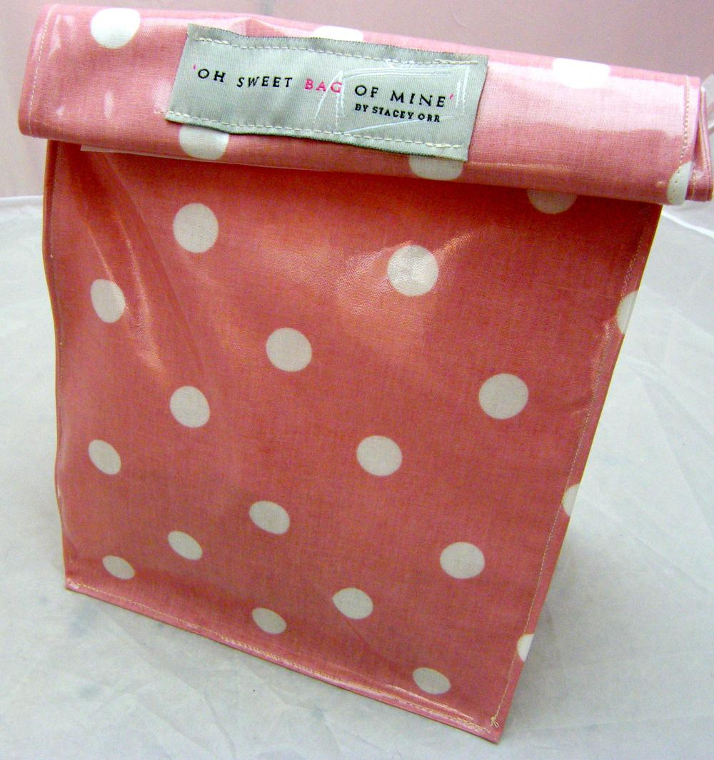oilcloth Lunch Bag - Spots - White On Pink