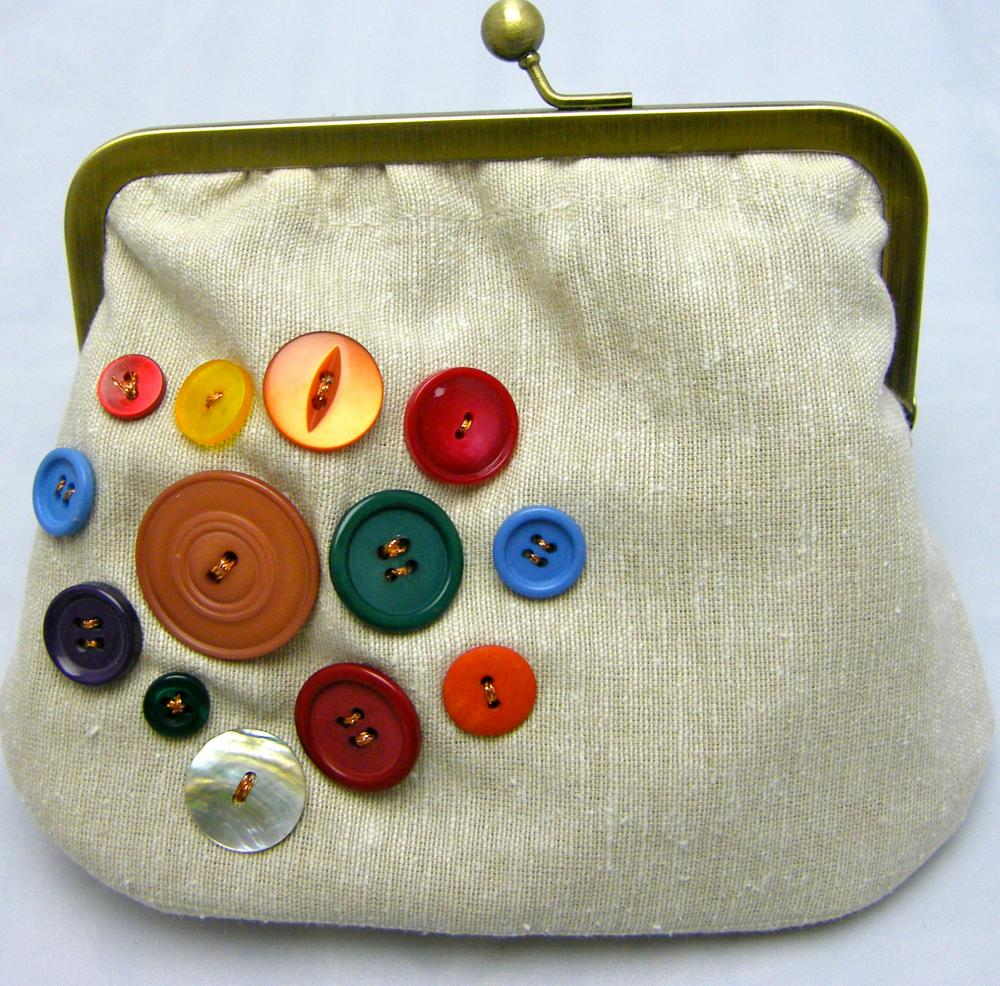 Linen Fabby Purse - Buttons