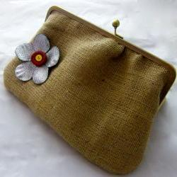 "10"" Fancy Jute Clutch - Silver Flower with Buttons  (Red & Yellow)"