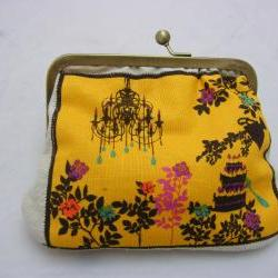 6&amp;quot; Fabby Purse - Tea Party: Yellow on Cream  