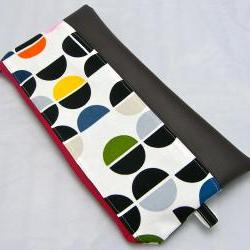 Cotton with Leather Pencil Case - Semi Circles